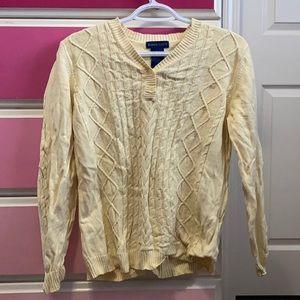 Karen Scott yellow cable knit sweater